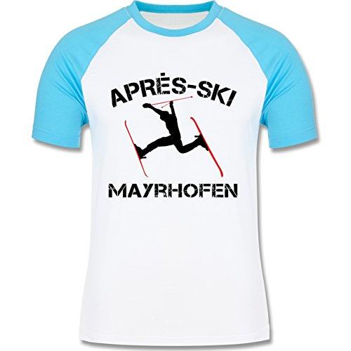 Après Ski - Apres Ski Mayrhofen - zweifarbiges Baseballshirt für Männer Weiß/Türkis