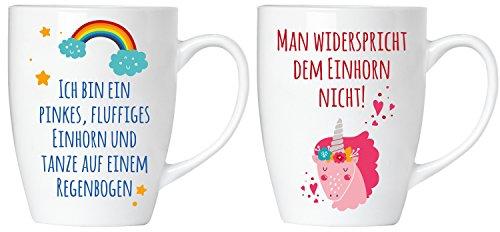 """BRUBAKER """"Man widerspricht dem Einhorn nicht"""" Tassen Set aus Keramik"""
