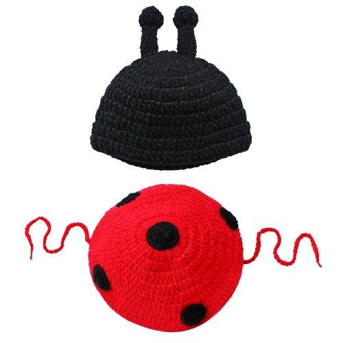 Tiaobug Bébé Unisexe Déguisement Animaux Costume Crochet - 0-12 Mois Fille/Garçon - Photographie Souvenir (0-12 mois, Coccinelle)