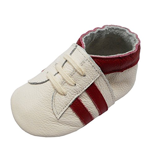 YIHAKIDS Babyschuhe Echtleder Weiche Wildleder Sohle Schuhe Kleinkind Lauflernschuhe Erste Walker Mokassins Multi-Farben Weichen Sneaker(Weiß mit roten Streifen,0-6 Monate,19/20 EU) -