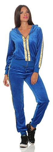 Damen Velours Nicki Freizeitanzug Hausanzug Nicki-Anzug mit Reißverschluss Gr. S M L XL 2XL, 1674 Blau M