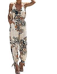 4078095863 T.Mullen Mujer Monos Elegante Verano Fiesta Elegante Tirantes Floral  Jumpsuit con Abertura Sin Mangas