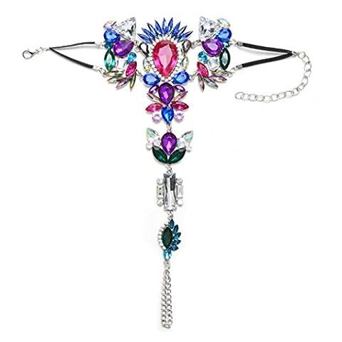 Minshao 1× Luxe orné Cristal diamants Barefoot Sandales de plage Mariage Knit Cheville Pied Bijoux Chaîne: multicolore