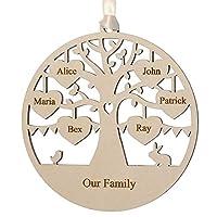 Alphabet barn Family Tree Gift Wood Plaque Decoration Personalised Keepsake Handmade Momento Anniversary Present for Mum Grandma Husband Wife Friend 12.5cm (6 names/hearts)
