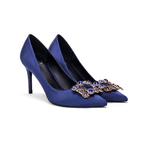 YIXINY Zapatos de tacón XG-9697 Zapatos Mujer Seda + PU Fine Talón Apuntado Boca Poco Profunda Boda Zapatos De Tacón Alto Azul 6 Cm, 8 Cm, 10 Cm ( Color : 8cm , Tamaño : EU37/UK4.5-5/CN37 )