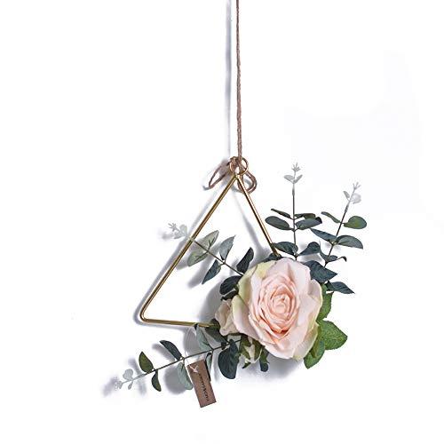 e Metall hängen Rack mit künstlichen rosa Rosenblätter Haustür Kranz romantische Wand Anhänger Girlande für Baby-Dusche Hochzeit Geburtstag Weihnachtsfeier Dekoration ()
