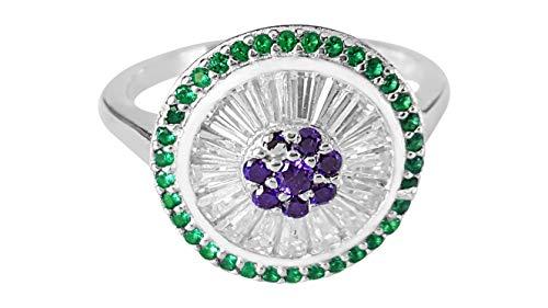Portrayer Suffragette Jeweled Ring Sterlingsilber gewölbter Kostümring im Stil der Suffragettes