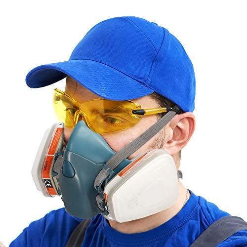 Máscara de Gas Ultra Suave CofflyTM ZT-32 Mascara Pintura Reutilizable Protección Respirador Semimáscara con Doble Filtro para Pintura, Polvo, Productos Químicos, Lijado a Máquina, Formaldehído