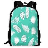 TTmom Schulrucksack,Schüler Bag,Rucksack Damen Herren Backpack Leaves Turquoise Zipper School Bookbag Daypack Travel Rucksack Gym Bag for Man Women