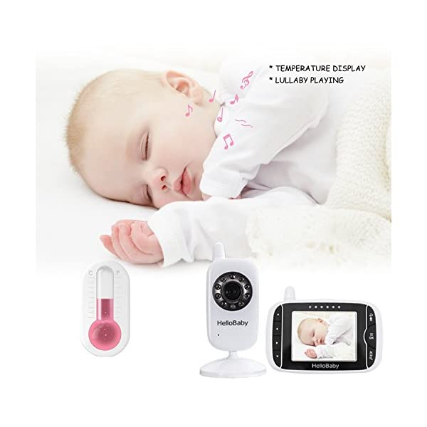 "HelloBaby Video Baby Monitor, 3.2"" Color LCD Screen with VOX Sound Activate Night Vision & Temperature Sensor, Two-Way Talkback System, White Camera (HB32) hellobaby 3.2 INCH LCD DISPLAY WITH ENHANCED 2.4GHZ TECHNOLOGY - The video baby monitor has a 3.2 Inch screen to show baby as you need , with 2.4GHz FHSS wireless transmission for 100% privacy and security.range up to 960ft without barriers. It is more convenient than IP camera. VOX FUNCTION - You do not have to pegged to the screen for long periods of time to avoid any unexpected omissions and no worries that babies will not be alerted during standby. Vox models can also save the battery power so as to length your use time. 8 LULLABIES PLAYING & NIGHT VISION FUNCTION - There are eight different soft lullabies to appease your baby when she is sleeping or waking up suddenly. Night vision camera allows you to clearly keep an eye on your baby's movements both day and night. 2"