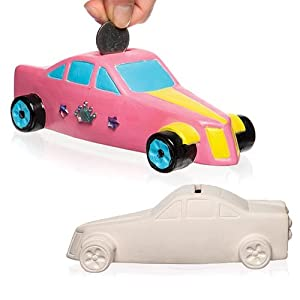 Baker Ross Racing Car Ceramic Coin Banks (Box Of 2) For Kids To Decorate