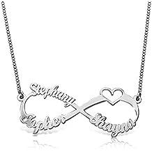 25a68c7c6048 Collar Personalizado de Joyería Nombres Personalizado Nombre Personalizado  Colgante Grabado de Infinito corazón ...