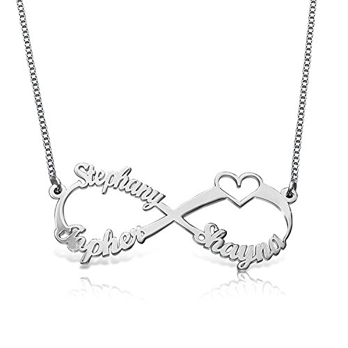 Panicy 925 Sterling Silber personalisierte Ewigkeit Infinity Name Halskette nach Maß mit 3 Namen