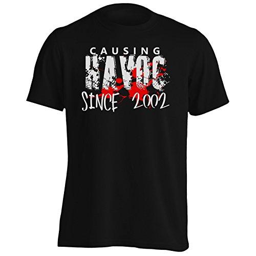 Provocando il caos Dal 2002 Divertente Uomo T-shirt jj50m Black