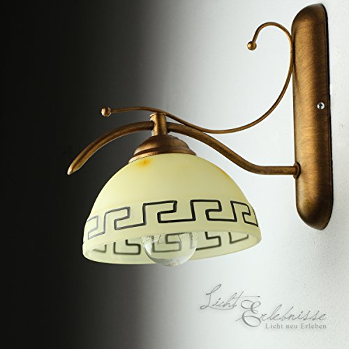 Edle Wandleuchte Mediterranen Stil Wandlampe griechisch Glasleuchte Lampen (Griechische Lampe)