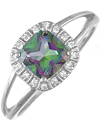 Ivy Gems Sterling Silver Cushion Cut Mystic Topaz and Colourless Topaz Split Shank Ring