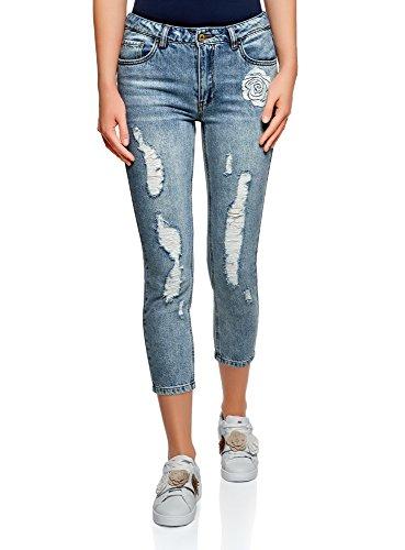 oodji Ultra Donna Jeans Boyfriend con Ricamo, Blu, 28W / 32L (IT 44 / EU 40 / M)