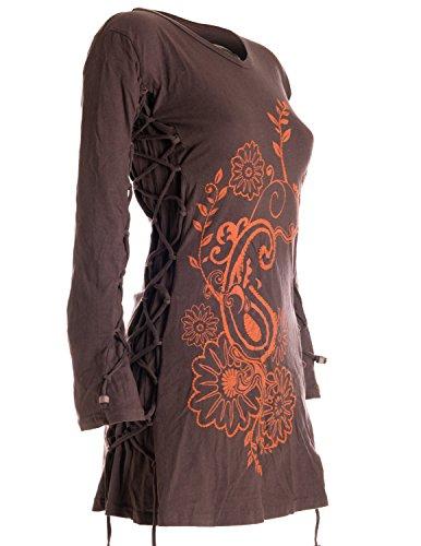 Vishes - Alternative Bekleidung – Langärmlige Tunika mit großem Kragen, aufgestickten Blumen und raffinierter Schnürung Rundhals dunkelbraun