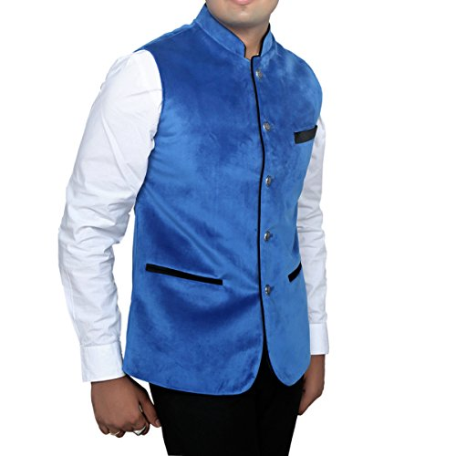 Kuber Industries Men's Fabric Ethnic Jackets & Gilet (Jacket00107_Blue_Size-42)
