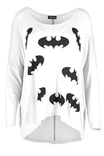 Damen Batman Aufdruck Lagenlook Überdimensional Hoch Niedrig Gestrickt Baggy Rundhalsausschnitt Schulterfrei T-shirt Top Weiß