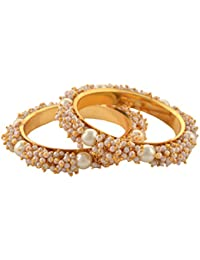 Zephyrr Traditional Gold Tone Bangles With Pearls For Women Pair Party Wear