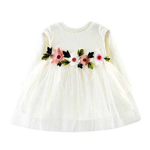 Kobay Kleinkind Baby Kind Mädchen Lange Ärmel gestrickt Bow Newborn Tutu Prinzessin Kleid 0-24M (100/18-24Monat, S-Weiß)
