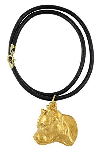 American Staffordshire Terrier (no collar), Gold Feingehalt 999 beschichtet Halskette, Limitierte Edition, Art Dog -
