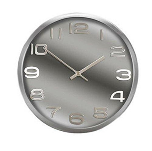 Tebery Pendule Murale Horloge de Paroi Cadre en Métal de 12 Pouces Horloge Murale Silencieuse Horloge Ronde Décorative