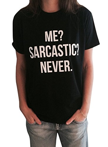 Neue Frauen-T-Shirt Ich sarkastische nie Buchstabe-Druck-Baumwolle lustige beiläufige ops Camisetas höhlen heraus Fluss-Felsen-Punkfrauen-Kleidung aus (Open Neck Tunika)