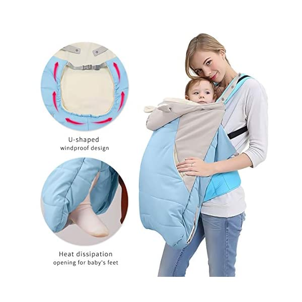 SONARIN All Seasons Weather Thick Cover for Baby Carrier,Cloak for Winter Warm,Fit Any Baby Carrier,Windproof,Waterproof(Blue) SONARIN Material:The designer carefully selects high-quality polyester, and the inside is made of cotton velvet, which is windproof and warm. Size: 60*58CM (23.6*22.8 inches). Applicable to All:Front or backpack carrier or hipseat carrier. This baby carrier cover is easily to snaps onto any baby carrier. It can also be used as a blanket, quilt with baby stroller. Quality and Design:The cloak has two openings that allow the baby's feet to stretch.The cover can be adjusted according to each baby's body shape.Big convenience pocket keeps parent's hands warm and it's roomy enough to easily keep the daily things such as cell-phones, keys and so on. 5