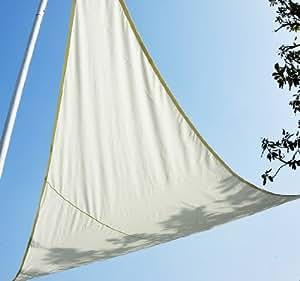 Voile d'ombrage impermeable triangulaire 4x4x4m parasol toile taud de soleil creme 39