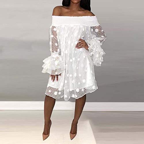 JYJLYQHK Schulterfrei Kleid Damen Plus Size Mesh Polka Dot Flare Langarm Oversize White Backless Kleider