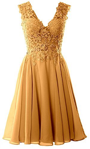 MACloth Gorgeous V Neck Cocktail Dress Short Lace Prom Homecoming Formal Gown gold