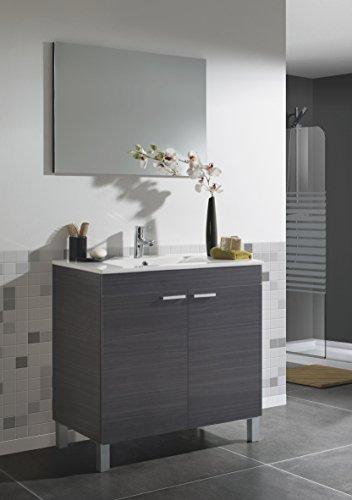 Mueble lavabo de baño o aseo con lavamanos de PMMA y espejo a juego con dos puertas color gris ceniza 80x80x45cm
