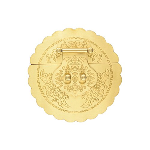 rzdeal 1 x antique round brass buckle Lock Latch large size furniture decorative accessory Decor wooden case jewelry box (DIY, 4.7 ')