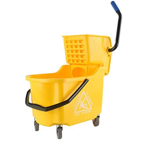 FUDIV Squeeze Flat Mop Squeeze Bucket - Handfreies, trockenes, selbst wringendes Bodenreinigungsmittel zum Nass- und Trockenwischen auf Allen Oberflächen mit einem Fassungsvermögen von 32 l
