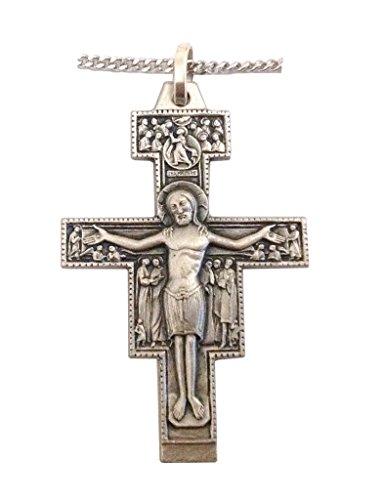 925 Sterling Silber Kruzifix von San Damiano mit Silber Kette