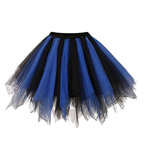 intage Petticoat Party Dance Tutu Rock Ballkleid Königsblau-Schwarz S/M (Tutu Frauen)
