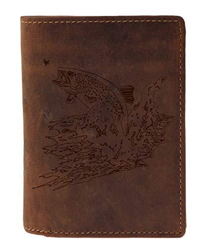 Greenburry Vintage Leder-Geldbeutel mit Fisch Motiv - 12x10x3 cm