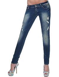 Damen Jeans Hose Röhrenjeans im Usedlook mit Karo-Stoff-Details 34XS - 42 XL