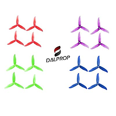 DALPROP 8 Pairs Cyclone V2 T5046C 5046 3 Blades (5.0 x 4.6) CW CCW Propeller Mega-Pack for FPV Racing Quadcopter Frame Kit (4 Colors Mix)