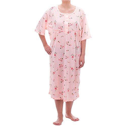 Lucky verano camisón transparente pijamas de pastel Jersey Manga Corta Flores Camisón Transparente Grande tamaños 3X L-6x l naranja Orange - Apricot XXXXXL