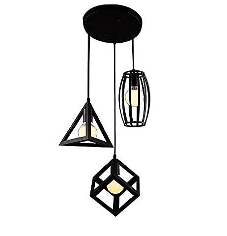 Retro Metall Pendelleuchte Einfache Kreative Pendelleuchten Halterung Triangel und Cube und Drums Shade mit 3 Lights, schwarz