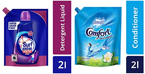 Surf Excel Front Load Matic Liquid Detergent Pouch - 2 L & After Wash Morning Fresh Fabric Conditioner Pouch - 2 L Combo