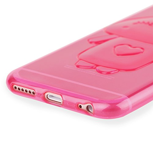 Ego® trasparente silicone TPU 3d per cellulare per iPhone orecchie da coniglio Back Slim Case Crystal Soft Ultra sottile Bunny Coniglio rosa Pink für iPhone 6 6S Pink