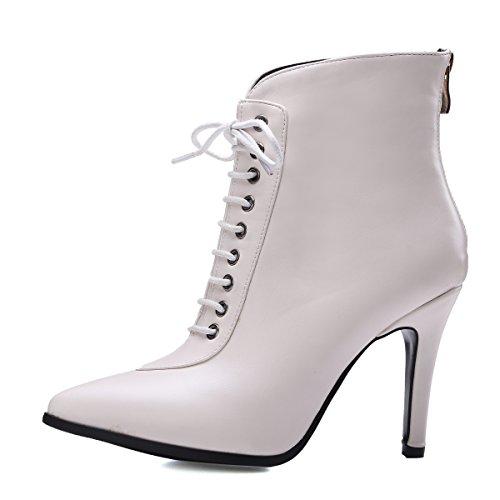 4f492cebdae9 YE Damen High Heels Spitze Stiletto Stiefeletten mit Schnüren  reissverschluss hinten 9cm Absatz Elegant Stiefel Weiß ...