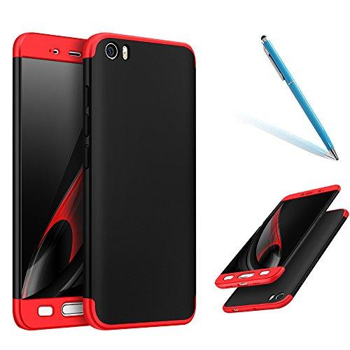 Funda para Xiaomi Mi5, [High Pro Shield] CLTPY Xiaomi Mi5 Carcasa [3 en 1] Desmontable Ultra-Delgado Negro Cubierta Trasera de Plástico Duro y Marco Rojo de Lujo para Xiaomi Mi5 + 1 x Stylus Libre