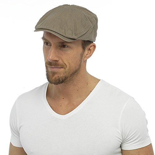 mens-adult-quality-adjustable-strap-flat-cap-fashion-hat-100-cotton-beige-l-xl