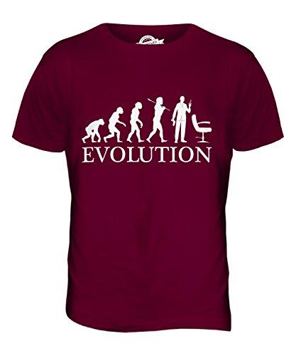 CandyMix Friseur Evolution Des Menschen Herren T Shirt Burgunderrot