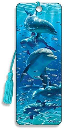 3D-Lesezeichen in Delfine Design mit seidig Quaste von Trendz